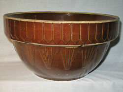 Antique Ruckels Mixing Bowl Stoneware 13 Picket Fence Inverted Pyramid Huge