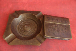 Trench Art Antique Ww2 German Military Brass Engraved Ashtray And Lighter