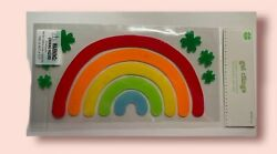 New Gel Window Clings Rainbow Colors Lucky Shamrock Clover St Paddyand039s Day