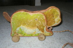 Antique Wood Pull Toy Dog - Marquetry Craft Toy Co. - 1940's