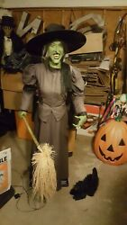 Vintage Wizard Of Oz Life Size Wicked Witch Gemmy Sound 6' Tall, And Cat