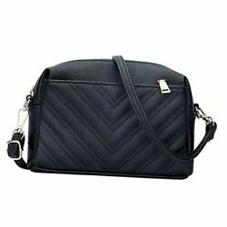 Triple Zip Lightweight Small Crossbody Bags for Women Quilted Shoulder Black $34.92