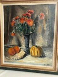 Arnout Colnot 1887-1983 Andldquostill Life With Flowers Pumpkin And Fruitsandrdquo