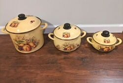 3 Aynsley Orchard Gold Tureen Prinz Made In Germany Yellow With Fruit Rare