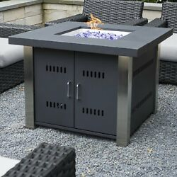 Outdoor Fire Pit Table Propane Stainless Steel Patio Heater Fireplace Furniture