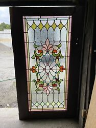 Mark Antique Stained And Jeweled Door Panel 24 X 58