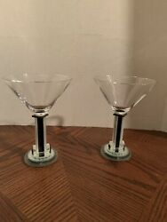 George Ponzini Art Glass 2 Piece Set Of Martini Glasses Signed Black And Clear
