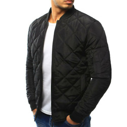 Mens Winter Warm Bomber Jacket Thick Coat Long Sleeve Clothes Stand-up Zip Comfy