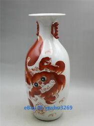 Marks Chinese Old Porcelain Hand Painting Fu Dogs Lion Vase