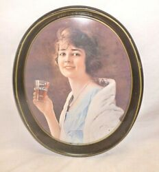 Vintage Coca Cola Coke Oval Girl Tray Wall Hanging Kitchen Decor Advertising