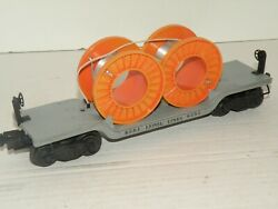 Lionel Pw 6561 Diecast Cable Reel Car W/ Orange Cable Reels W/ Inspection Nice