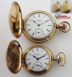Lot Of 2 Vintage Gold Filled Full Hunter Pocket Watches Elgin Years 1890 And 1904