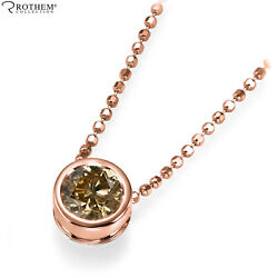 1.35 Ct Chocolate Diamond Pendant Rose Gold 14k Solitaire Necklace Si2 53653225