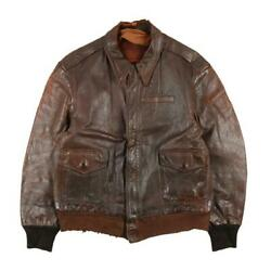 Us Army Air Force 40s Vintage A-2 Leather Flight Jacket Brown Men's Outerwear
