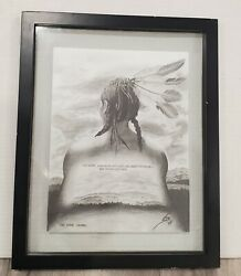 Pencil Drawing Of Native American - The Lone Sioux - Signed By Artist - 2005