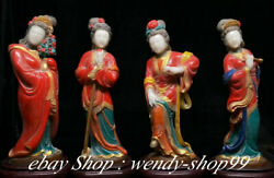 12 Old Chinese Shoushan Stone Painted Four Beautiful Woman Belle Statue Set