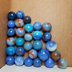 Lot of 29 Vintage Blue Swirl Marbles Alley Agate Master Akro etc 5 8quot; 3 4quot;