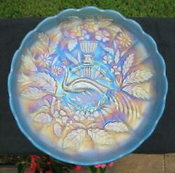 Northwood Peacock @ The Urn Ice Blue Carnival Glass Master Ice Cream Bowl