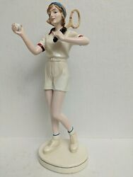 Female Tennis Player Gloss Finish Porcelain Figurine 11.5quot; Tall