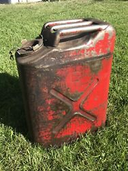 Vtg Blitz 5 Gal Red Gi Jerry Military Metal Jeep Gas Can Usa Dot-5l Usmc Used