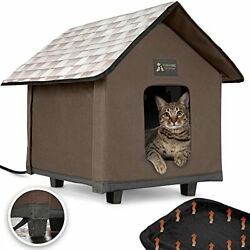 Heated Cat Houses for Indoor and Outdoor Cats Elevated Waterproof Chocolate