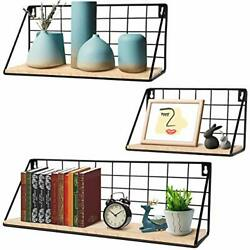 Floating Shelves for Wall Set of 3 Wall Mounted Rustic Wood Storage Shelves