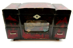 Black Lacquer Japanese Jewelry Box With Animated Music Box Inside Vintage Mcm