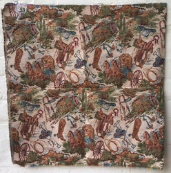 """2 Western Upholstery Tapestry Fabric Pieces 28""""x 54"""" Pillow Runner Crafts Decor"""