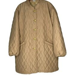 Quilted Pufferjacket Coat Light Weight Sz 2x Camel Tan Beige Long Mid Length