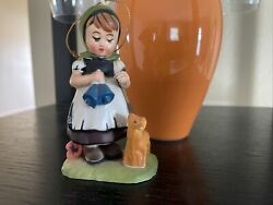 """Vintage porcelain Dutch Girl figurine with Lamb and Bells Hand Painted. 5"""""""