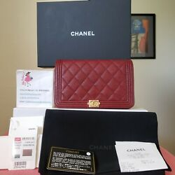 CHANEL red caviar gold hw Quilted Wallet On Chain bag $2350.00