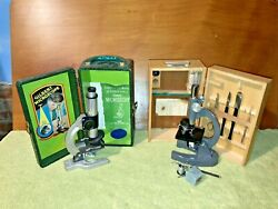Antique Toy Microscope Bundle Gilbert And Mayflower W/ Original Wooden Boxes
