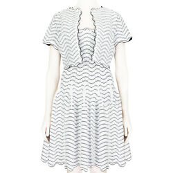 Alaia White And Black Twin-set Fit And Flare Dress Fr38 Uk10