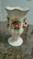 Vintage Italian Hand Painted floral Porcelain Ceramic Vase 1950#x27;s 6.5 inches