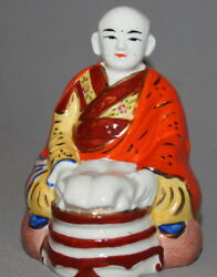 Vintage Hand Made Painted Porcelain Asian Monk Figurine
