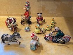 This Is A Set Of 8 Reproduction Vintage Tin Wind-up Toys. Charming And Fun.