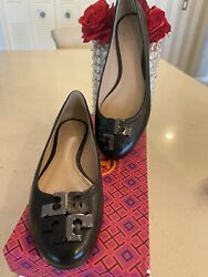 Tory Burch Lowell Ballet Flat North Leather Black Size 9.5 $119.99