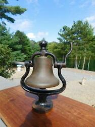 Antique Vintage Small Brass Locomotive Bell Cast Iron Yoke And Clapper Trolley