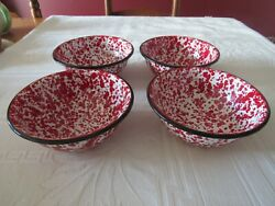 Nwt New Cgs International Enamel Red And White Speckled Splatter Ware Bowls 6