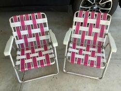 Vintage Set 2 Pink And White Folding Aluminum Lawn Beach Chairs Webbed Lightweight