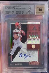 2018 Panini Contenders Baker Mayfield Playoff Ticket Rookie Auto /49 Bgs 9📈