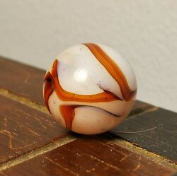 Antique Vintage Alley Agate .64quot; Red Silver Swirl Marble Near Mint