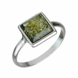 Sterling Silver and Baltic Green Amber Small Square Ring $13.75
