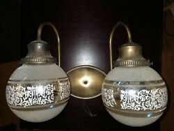 Vintage Virden Lighting 60s/70s Double Light Wall Sconce Textured Globes Mcm