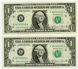 1981-a 1 One Dollar Federal Reserve Note Serial Number Errors Set Of 2 - Jl583