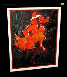 '80s Hawaii Abstract Oil Painting Red On Black By John Chin Young Ish42