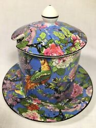 Crown Ducal Ware 4.5 Inch 'blue Chintz' Jelly/jam Jar W/black Rim And Underplate