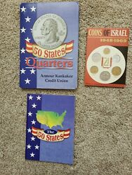 1999-2008 Us State Quarters Collectible Set Of 45 Coins Book And 1948 1969 Israel