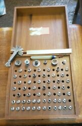 Watchmaker Lathe Bitts And Colletts In Wooden Box