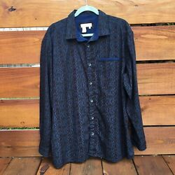The Territory Ahead Button Up Shirt Size Xl Aztec Southwestern Long Sleeve Blue